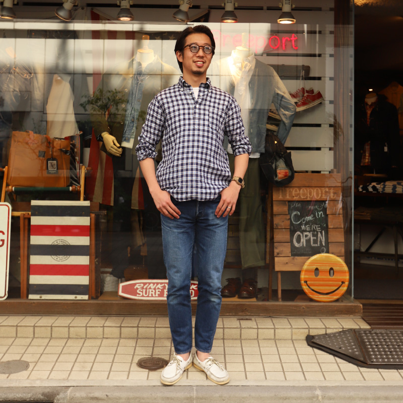 SOUTIENCOL/スティアンコル RE-MAKE POLO CANCLINI LINEN BLUE CHECK リメイクポロ