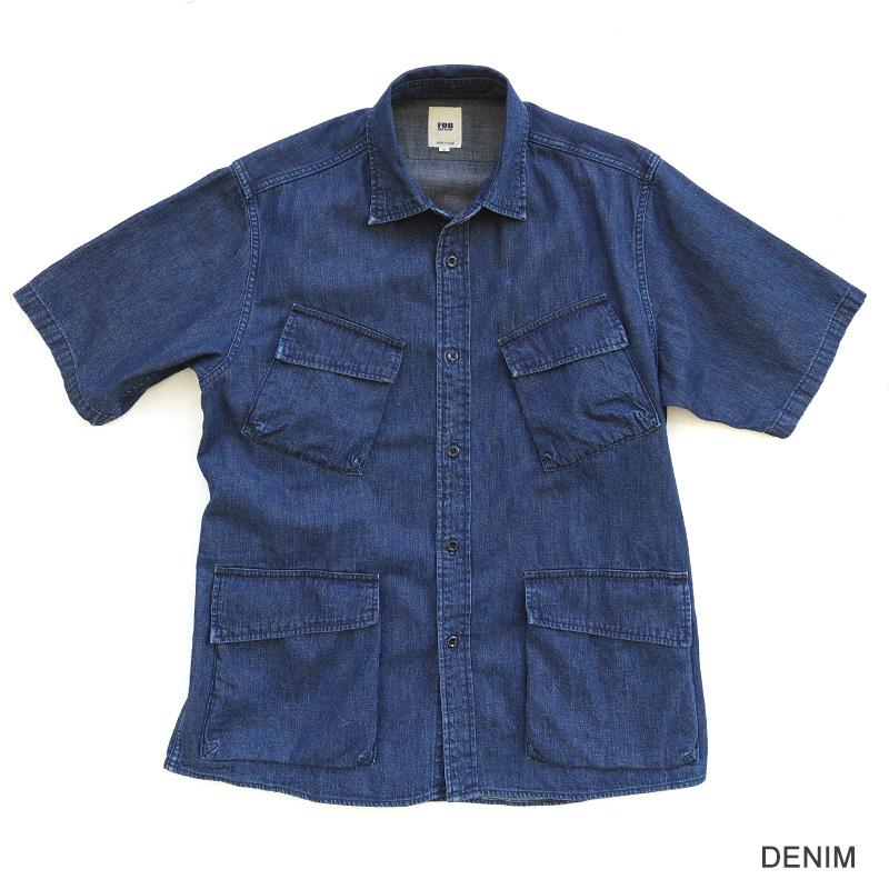 FOB FACTORY DENIM FATIGUE S/S SHIRT 半袖デニムファティーグシャツF3468