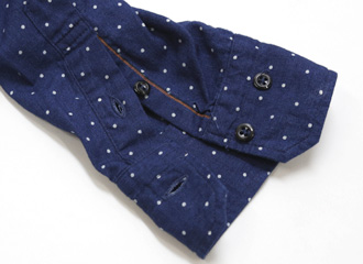OMNIGOD(オムニゴッド) クラシックワークシャツ 水玉抜染インディゴ 56-162X