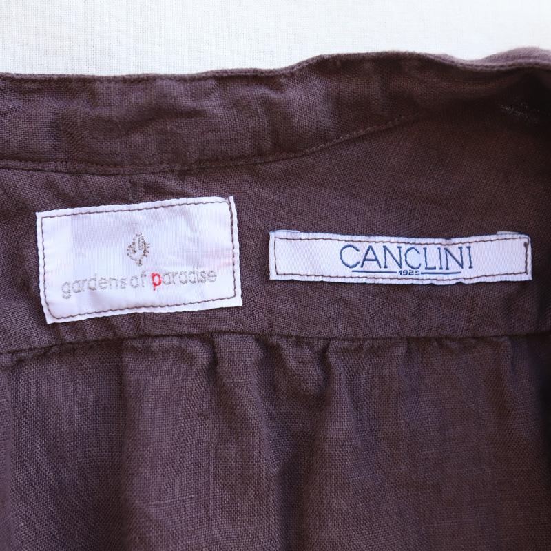 gardens of paradise Swedish CANCLINI LINEN/ガーデンズオブパラダイス スウェディッシュ リネンギャザーバンドカラーシャツ