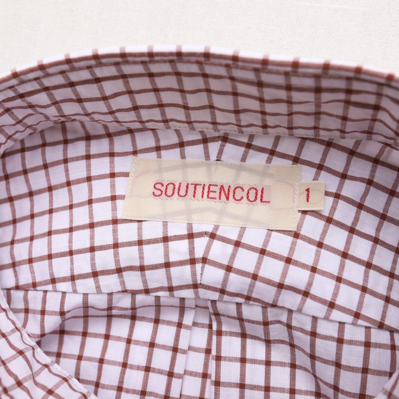 SOUTIENCOL スティアンコル RE-MAKE POLOリメイクポロ  check ALBINI H/S BROWN CHECK