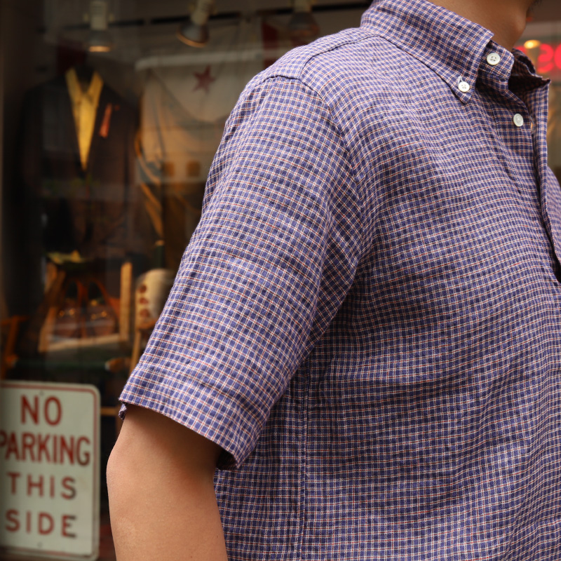 SOUTIENCOL RE-MAKE POLO -H CANCLINI LINEN RED NAVY CHECK/スティアンコル リメイクポロ  ハーフスリーブ