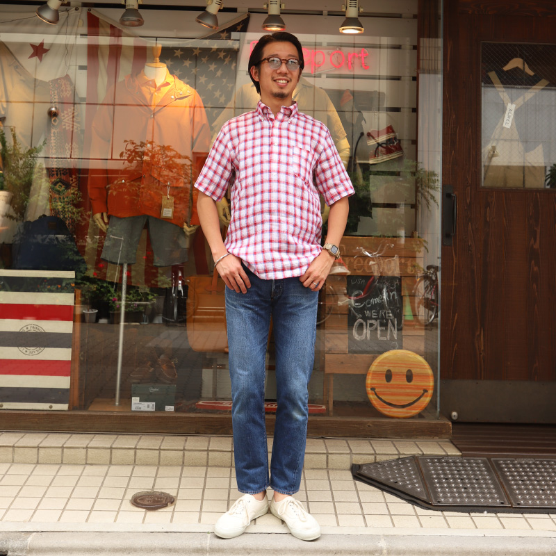 SOUTIENCOL RE-MAKE POLO -H CANCLINI LINEN RED  CHECK/スティアンコル リメイクポロ ハーフスリーブ