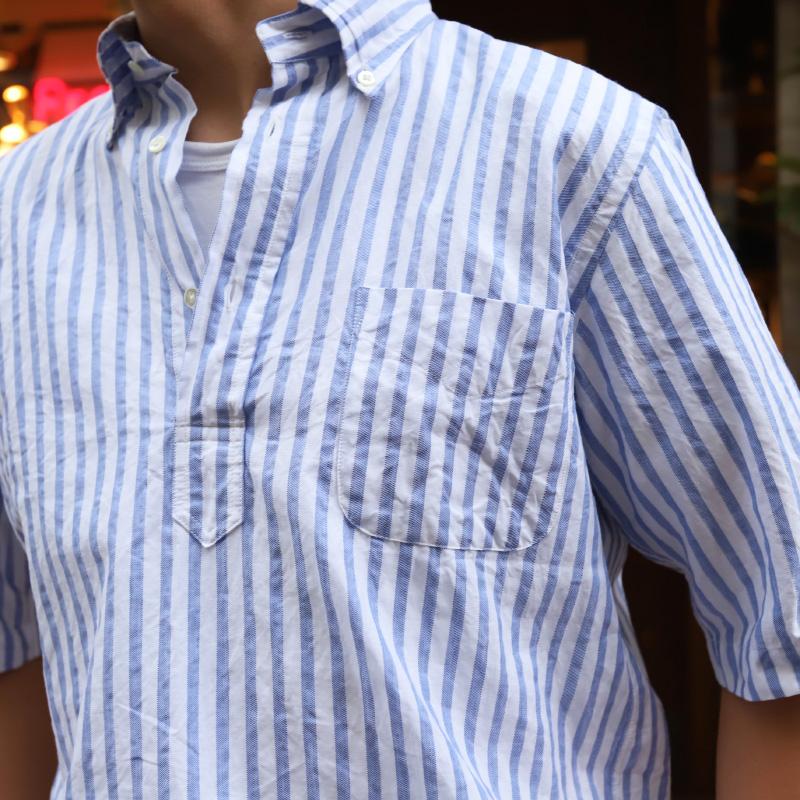 SOUTIENCOL RE-MAKE POLO Long-H Grandi&Rubinelli Cotton Stripe Blue /スティアンコル リメイクポロ ロングハーフスリーブ