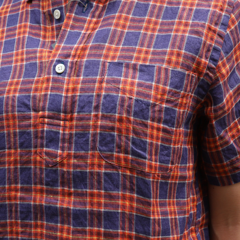 SOUTIENCOL RE-MAKE POLO -H LADY CANCLINI LINEN ORANGE NAVY CHECK/スティアンコル リメイクポロ ハーフスリーブ 211220Lady
