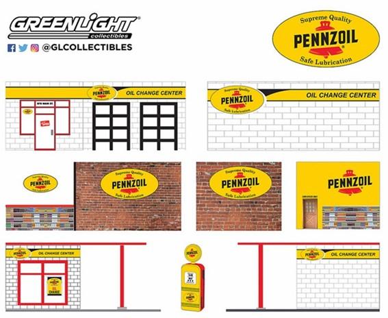 新品57052 GreenLight 1/64  Mechanic's Corner Series 5 - Vintage Gas Station Pennzoil 10 Minute Oil Change Center