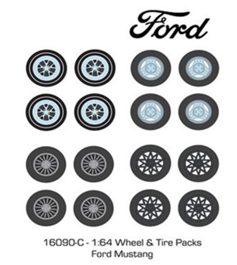 予約16090-C GreenLight 1/64  Auto Body Shop - Wheel & Tire Packs Series 5 - Ford Mustang