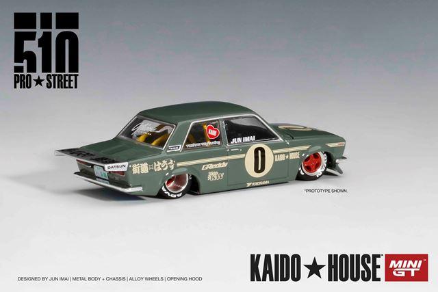 新品 KHMG001 TSM MINI-GT 1/64 ダットサン 510 プロストリート OG グリーン KAIDO HOUSE (左ハンドル)