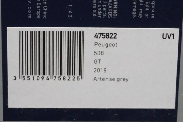 1/43 ノレブ 475822 Peugeot 508 GT 2018 Artense grey