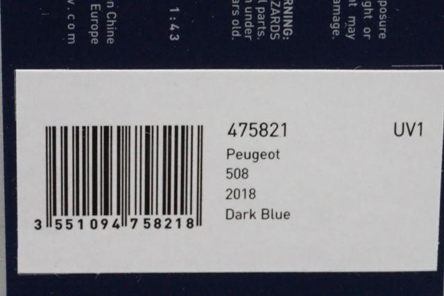 1/43 ノレブ 475821 Peugeot 508 2018 Dark Blue