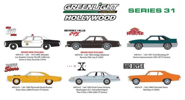 新品44910 GreenLight 1/64  Hollywood Series 31  6個入り