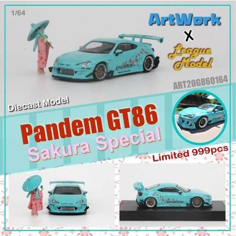 新品  Art Work X League Model 1/64 トヨタ Pandem GT86 Sakura Special フィギュア付き