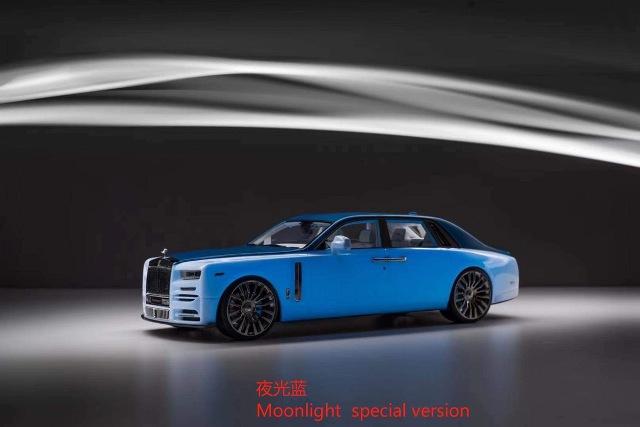 予約  VMB 1/18 ロールス ロイス ファントム Mansory RR Rolls Royce Phantom 8 moonlight blue 蓄光塗料 限定40台