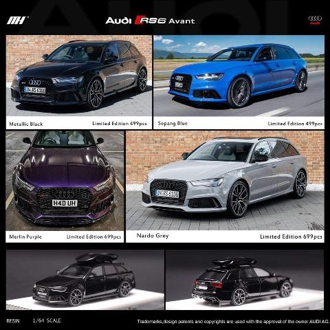 予約  モーターへリックス 1/64 アウディ Audi RS6 C7 Nardo Grey キャリア付