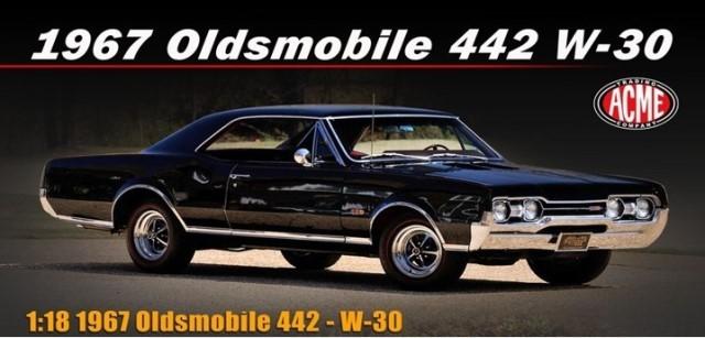 予約 A1805622 ACME 1/18 オールズモービル 1967 442 W-30 Ebony Black on Red