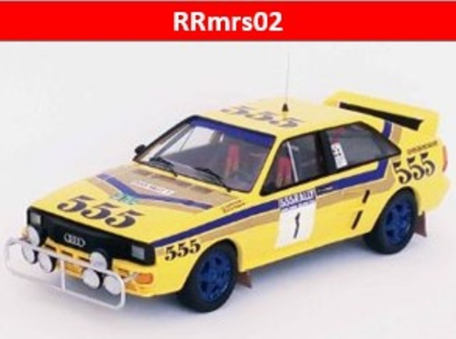 新品RRmrs02 トロフュー 1/43 アウディ クアトロ 1986 香港-北京ラリー 優勝 #1 S.Blomqvist B.Berglund