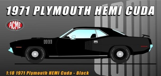予約A1806124 ACME 1/18 プリマス Hemi Cuda 1971 B5 Black