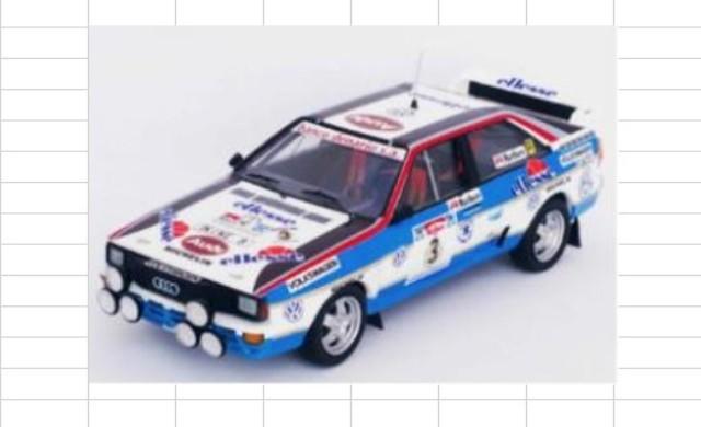予約RRar01 トロフュー 1/43 アウディ クアトロ 1984 ラリー・アルゼンチン 3位 #3 J.Recalde J.Del Buono