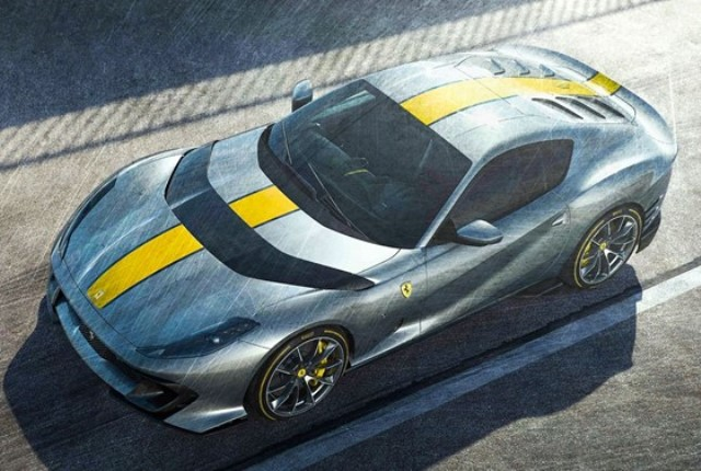 取寄せ FE033A MR 1/18 フェラーリ Ferrari 812 Competizione Grigio Coburn with Yellow Live