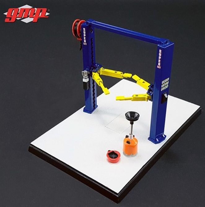 新品GMP-14301 GMP1/43 Two Post Lift ブルー/イエロー