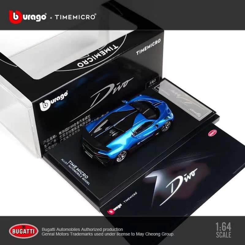 新品  TM Time Micro x Bburago 1/64 ブガッティ ディーヴォ BUGATTI DIVO light blue