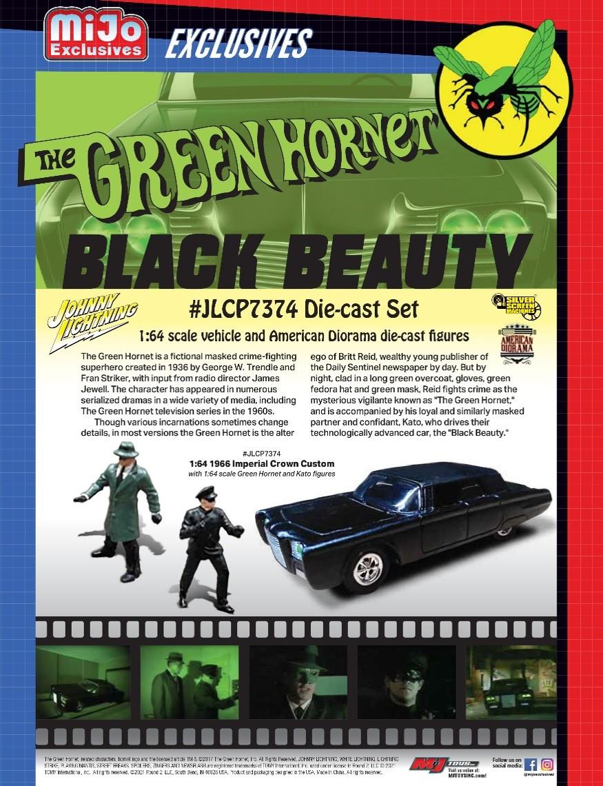 """予約 JLCP7374-24 Johnny Lightning x Mijo Exclusives 1/64  ブラックビューティー """"グリーン・ホーネット"""" グリーン・ホーネット&カトー フィギュア付(Mijo限定)"""