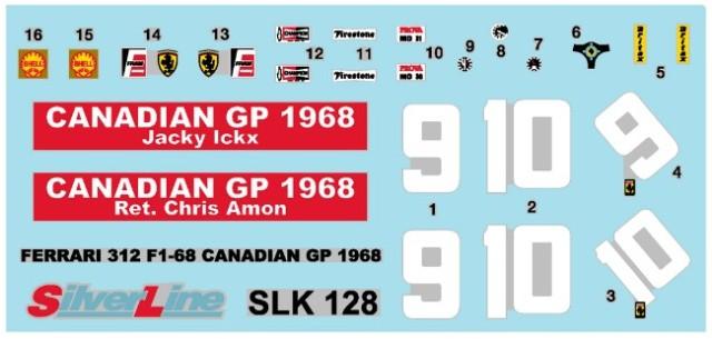 取寄せSLK128 タメオキット 1/43 フェラーリ 312 F1-68 カナダGP 1968 Kit semplice
