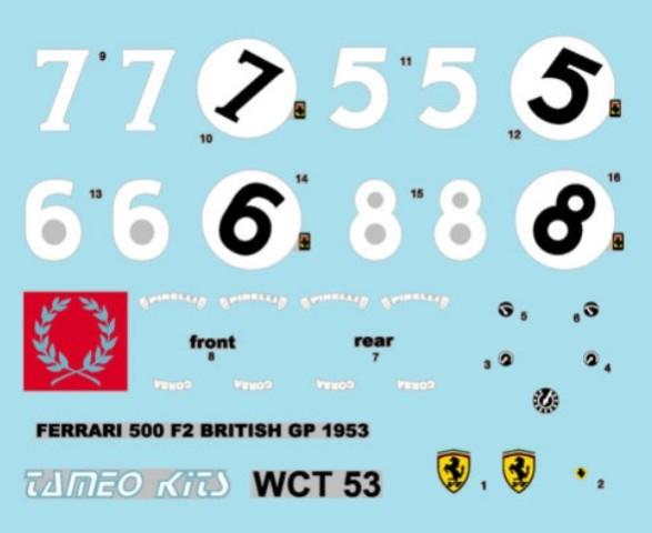 取寄せWCT053 タメオキット 1/43 フェラーリ 500 F2 イングランドGP 1953 Super Kit