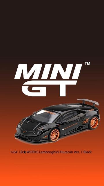 予約  MINI-GT LBWK限定 1/64 ランボルギーニ LB★WORKS Lamborghini Huracan Ver. 1 Black 左ハンドル