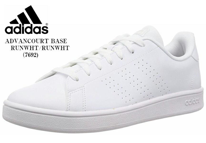 adidas(アディダス) ADVANCOURT BASE コートスニーカー レザー風素材を用いたアッパーにパンチングのスリーストライプス レディス