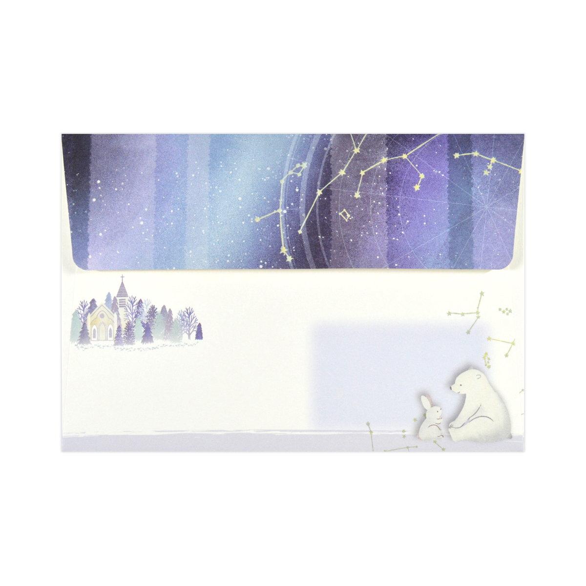 ミニレターセット 雪降る夜空|mls-122
