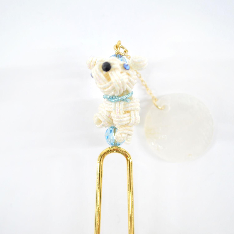水引アクセサリー 犬カンザシ 天然シェル B2R1クリスタル|ka-033