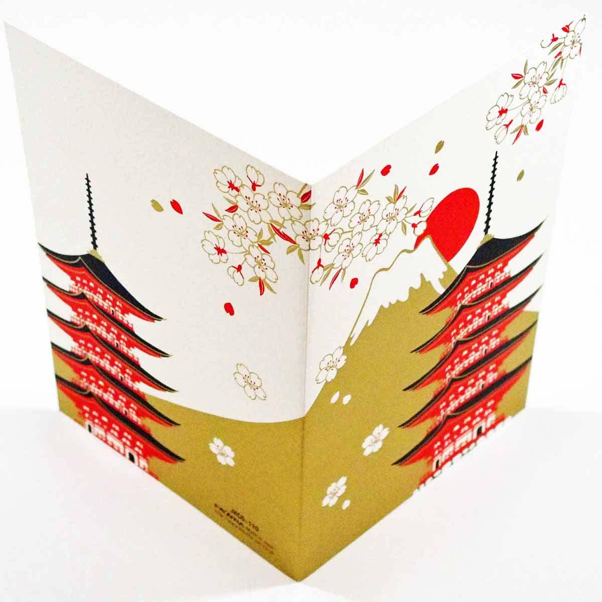 シルククリスマスカード 富士山と五重塔|jxcd-110