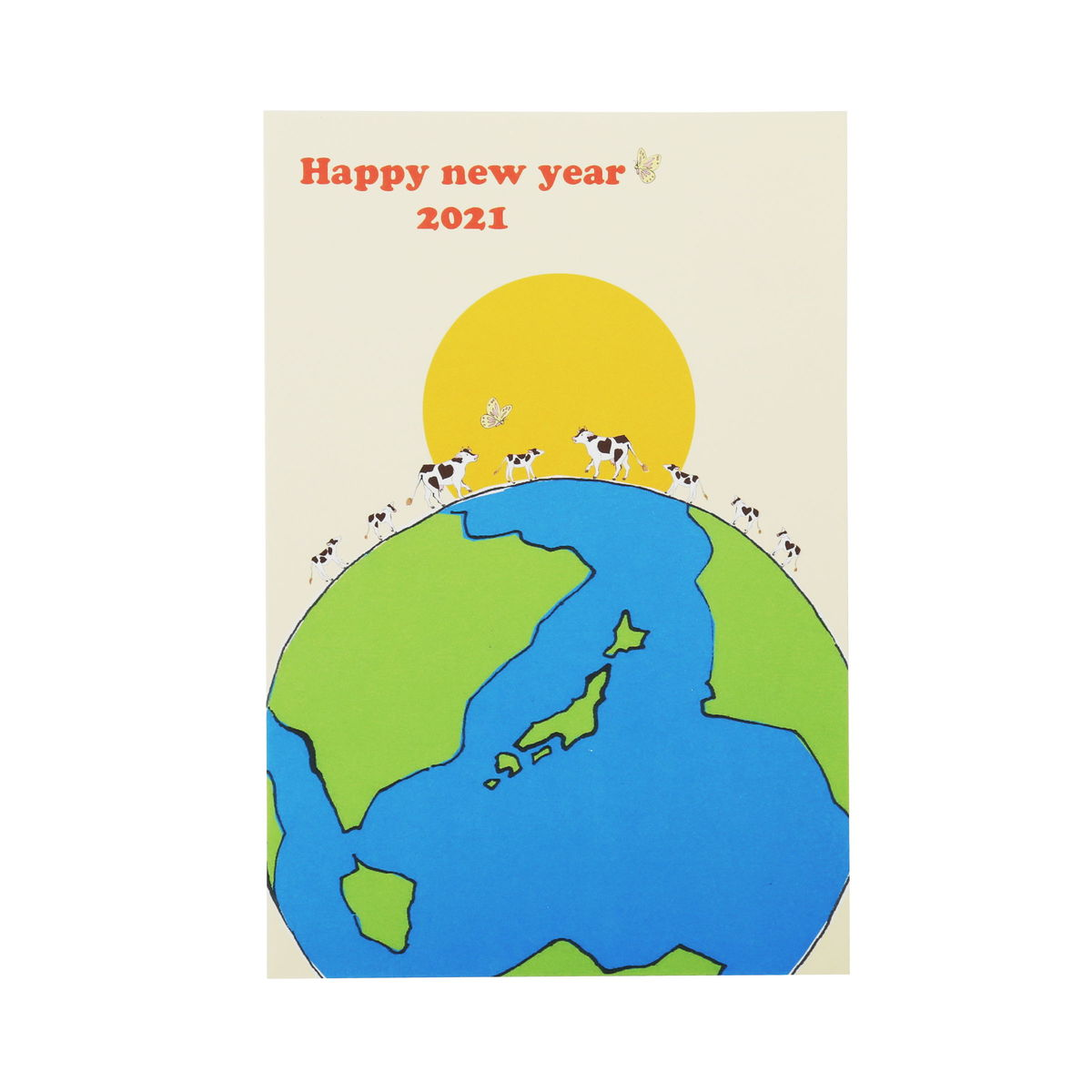 年賀はがき 丑と地球|fpc-553