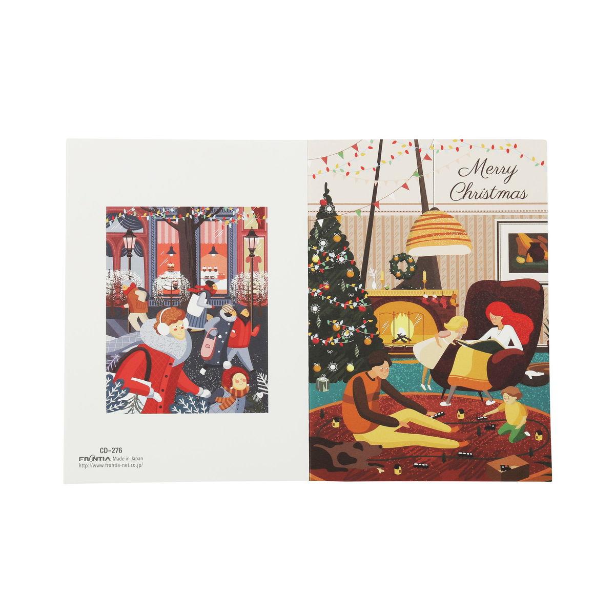 クリスマスカード クラシック 暖炉がある光景 xcd-276