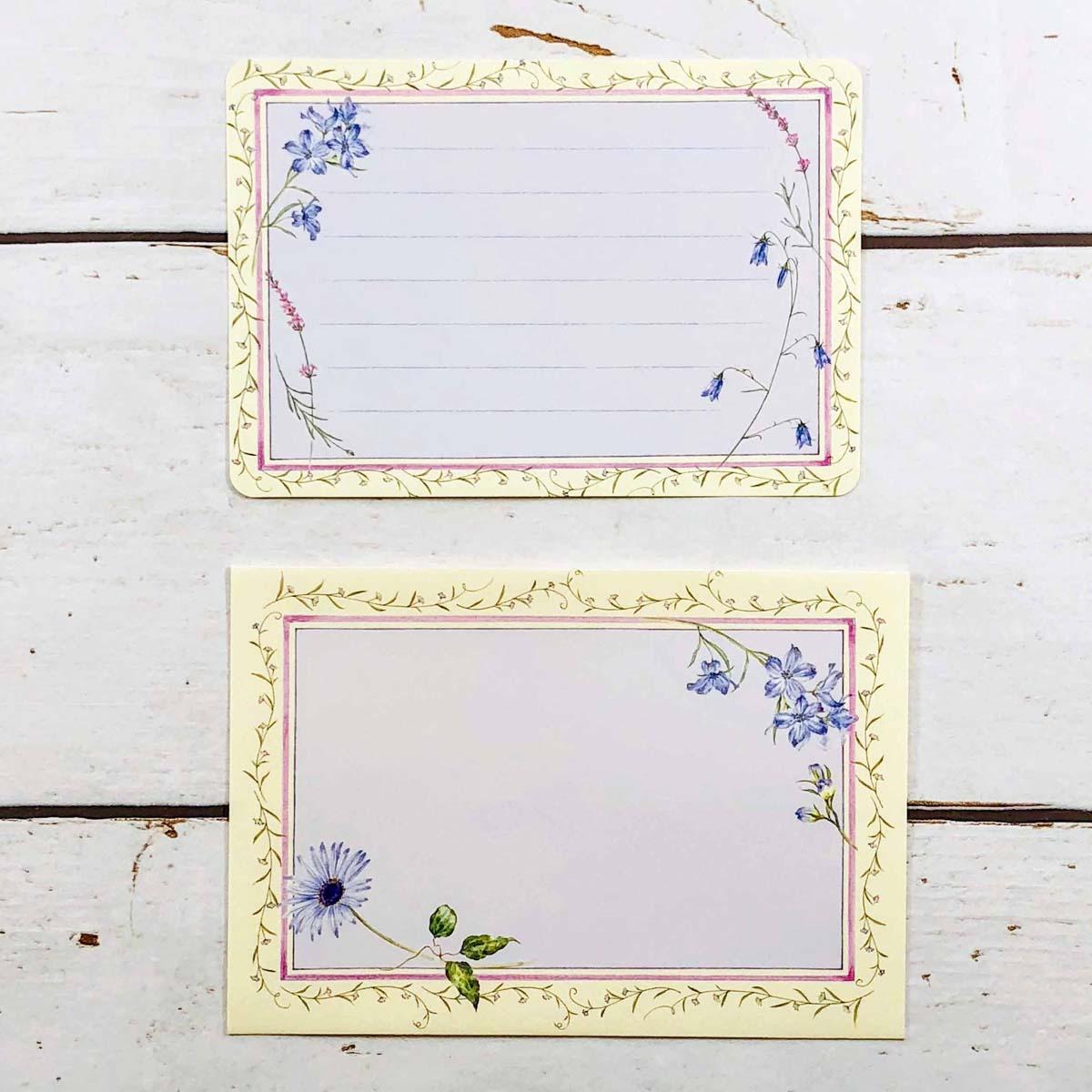 ミニレターセット ブルーの花|mls-008