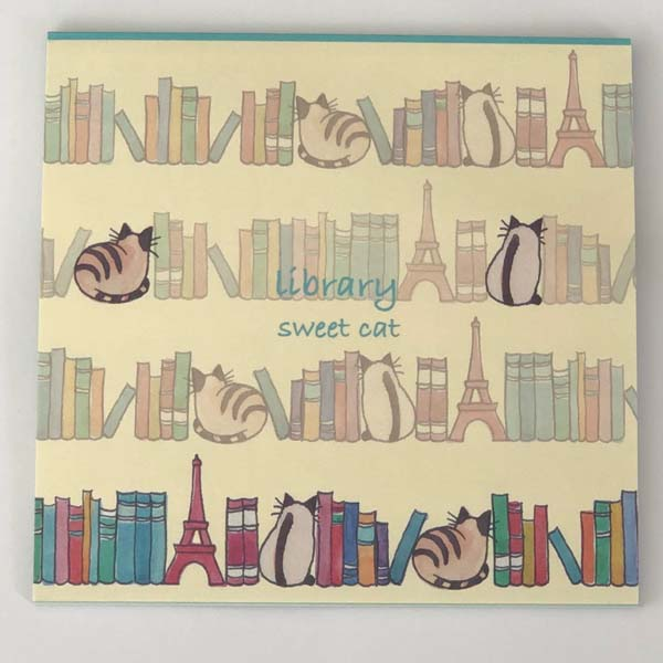 便箋 本棚とネコ Sweet Cat|pd-510
