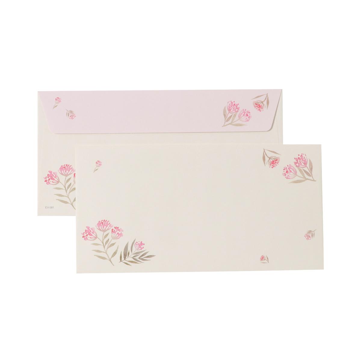 封筒 ピンク小花|ev-581