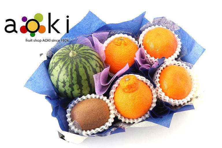 お供え・お悔みフルーツギフトB[デコポン 紅小玉スイカ キウイフルーツ おすすめ柑橘](常温便)