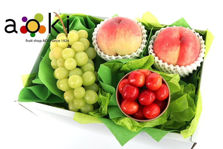 【送料込】夏の贈り物フルーツギフト7A シャインマスカット 桃 さくらんぼ(クール便)