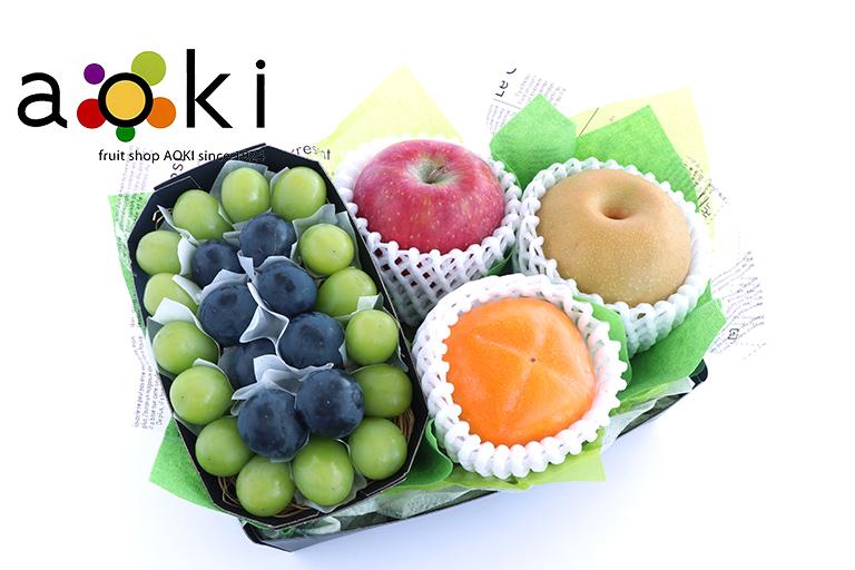 【ご贈答】口福フルーツギフトB[シャインマスカット 黒ぶどう りんご 和梨 柿] お祝い商品