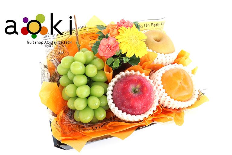 【ご贈答フラワー】口福フルーツギフト&フラワーC[シャインマスカット りんご 和梨 柿] お祝い商品