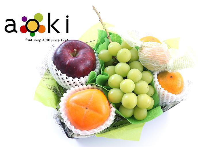 【ご贈答】口福フルーツギフトB[シャインマスカット 柿 りんご みかん]