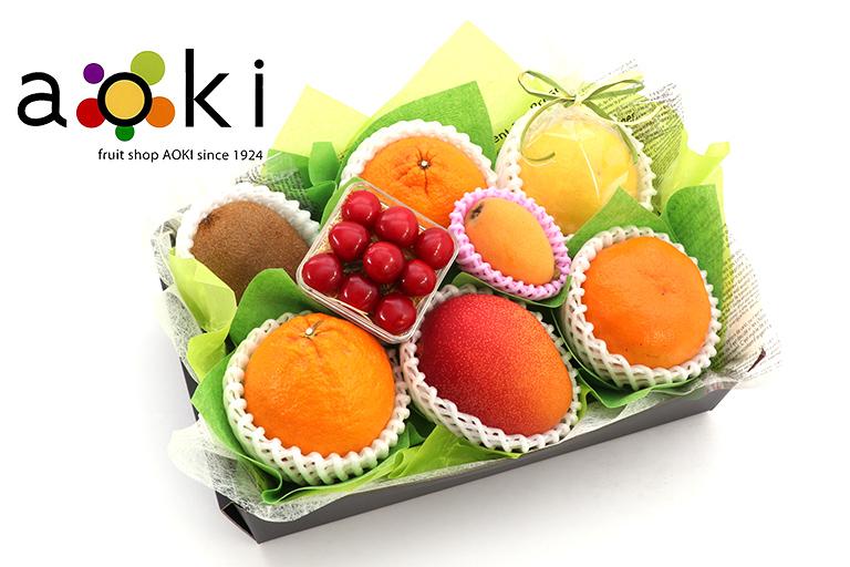 【ご贈答】口福フルーツギフトD[完熟マンゴー さくらんぼ デコポン びわ おすすめ柑橘2種]