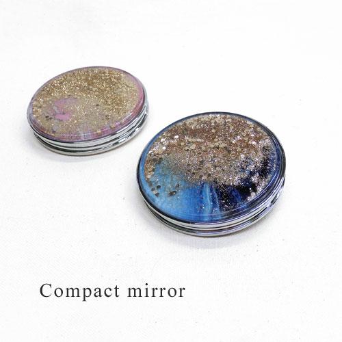 -Compact mirror-マーブル×ラメ&ホログラム【アレオリ】