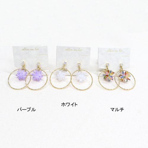 Cristal Pebble-クリスタルぺブル-フラワー×サークルイヤリング【アレオリ】