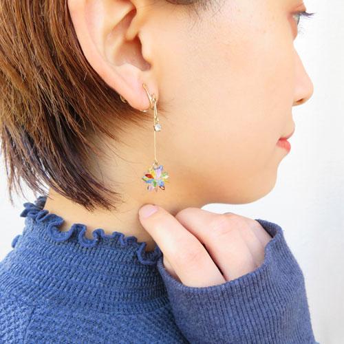 Cristal Pebble-クリスタルぺブル-フラワー×ラインイヤリング【アレオリ】