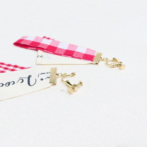 ★50%OFF★ナチュラルギンガムシリーズ-イヤリング-【ルココネ】