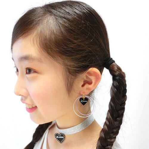 ロゴハートinバイカラーフープ樹脂ノンホールピアス(とうめいイヤリング)【ルココネ】