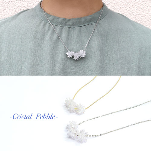Cristal Pebble-クリスタルぺブル-トリプルフラワーネックレス【アレオリ】